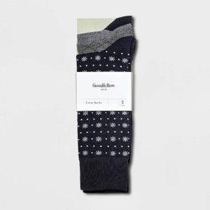 Men's 3pk Snowflake Crew Socks  U-058